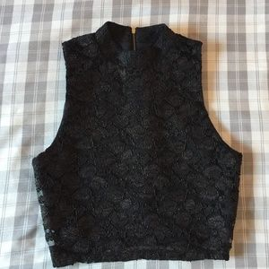 One Clothing Lace Mock Neck Tank Crop Top (Small)